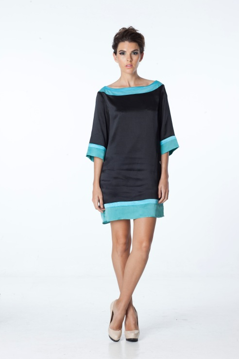 April Exude Confidence Color Block Silk Dress